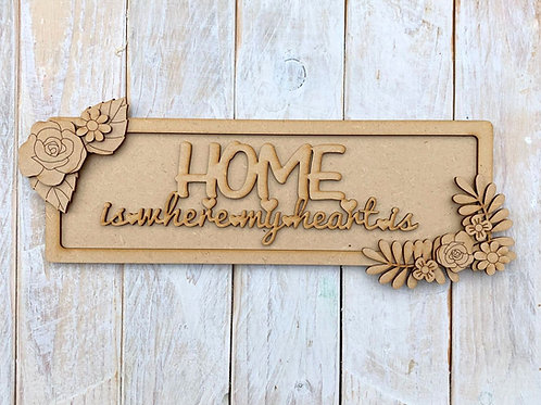 Layered Plaque Frame Home is where the heart is
