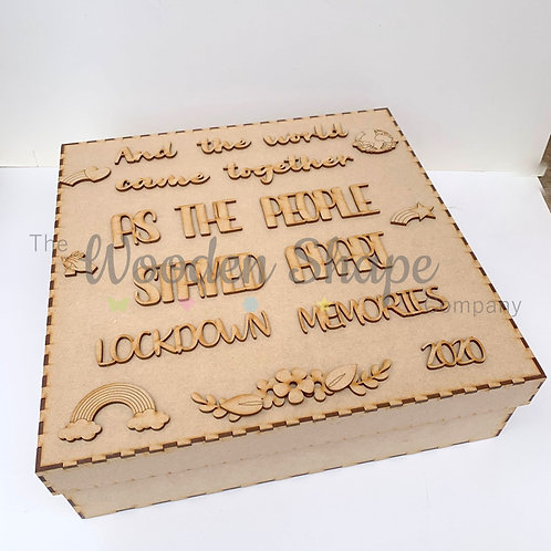 """MDF Build Your Own Large 14"""" Square Lockdown Memories Box S1"""