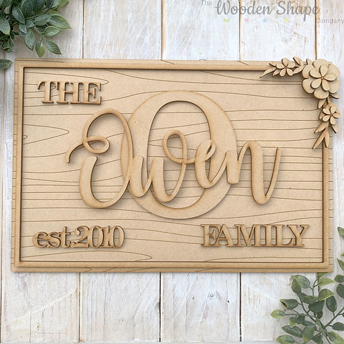 30cm MDF Rectangle Plaque with Initial & Family Name