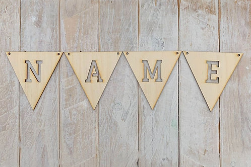 Bunting with Letters Cut Out