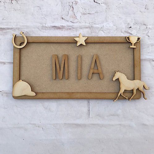 Horse Theme Room Sign Small (up to 6 letters)