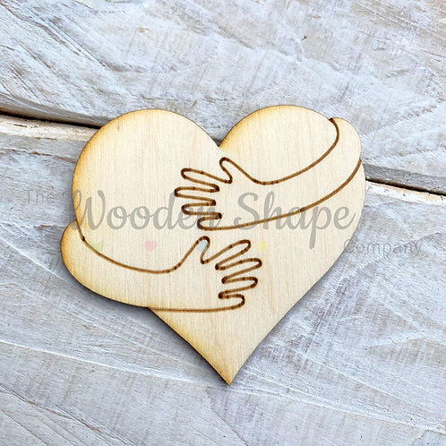 Plywood Heart Hugging Arms Shape 10 Pack