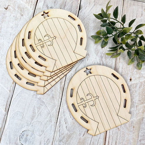 6 Pack Plywood Fairy Doors Code Flat Horseshoe