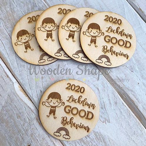 5 Pack Plywood Engraved 2020 Lockdown Good Behaviour Token Award