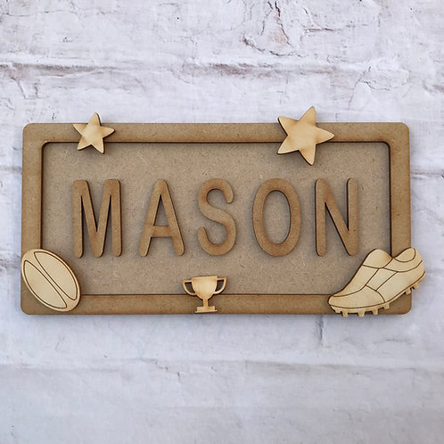 Rugby Theme Room Sign Small (up to 6 letters)