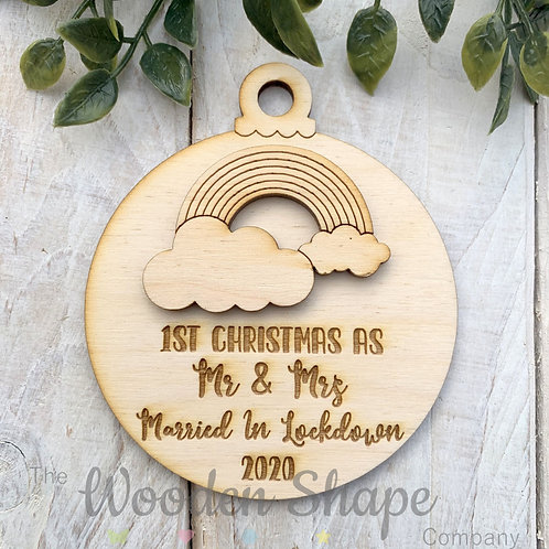 Plywood Christmas Decoration Bauble Lockdown 2020 Married