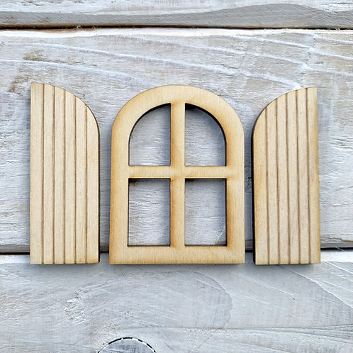 Fairy Door Window Curved Shutter 3 Sets 9 Pieces