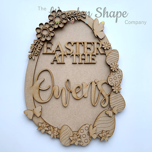MDF Large Easter Wreath Easter at the with Back