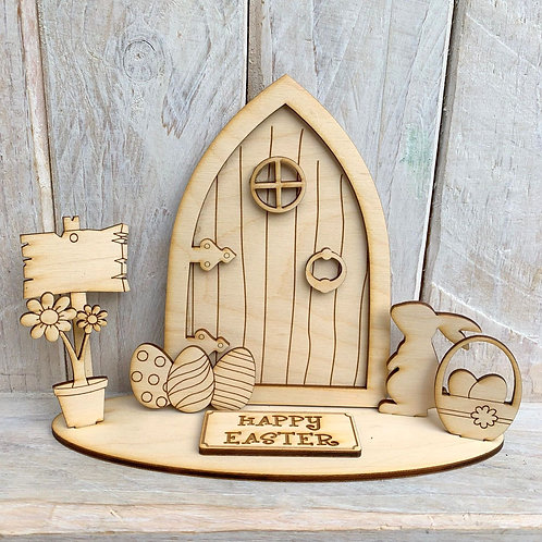 Fairy Door on Stand Happy Easter