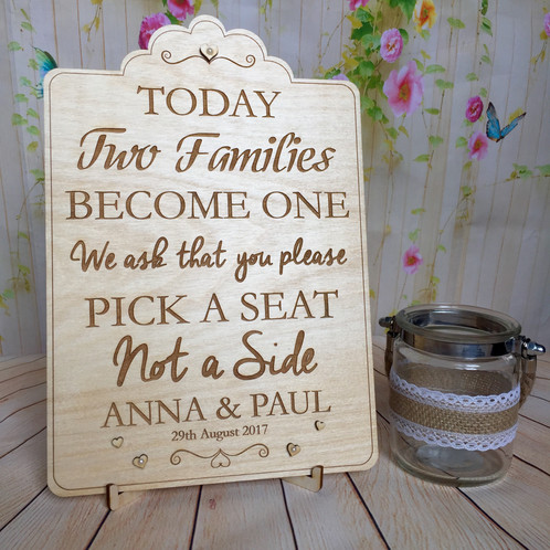 Wedding Sign Pick a Seat Not a Side | Creative Gifts NI