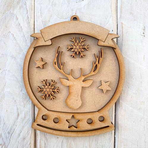 Layered Snow Globe Bauble Reindeer Antler