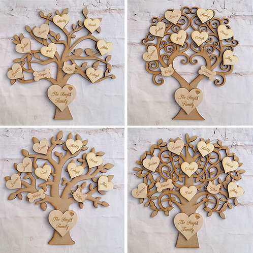 MDF Tree with Plywood Engraved Hearts Script