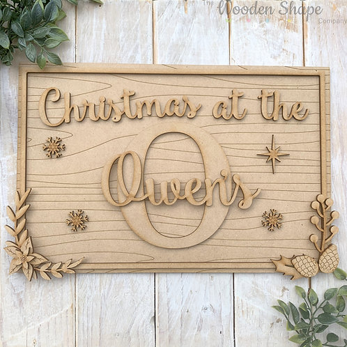 30cm MDF Rectangle Sign with Initial & Family Name Christmas at the Sign