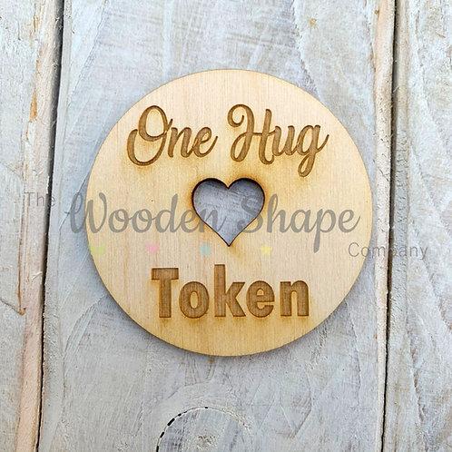 Plywood Engraved One Hug Token 5 Pack