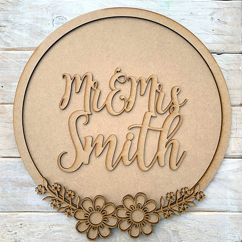 Layered Hoop Kit Backboard Mr & Mrs Personalised