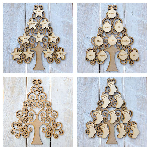 MDF Christmas Tree S with Plywood Engraved Name Tags