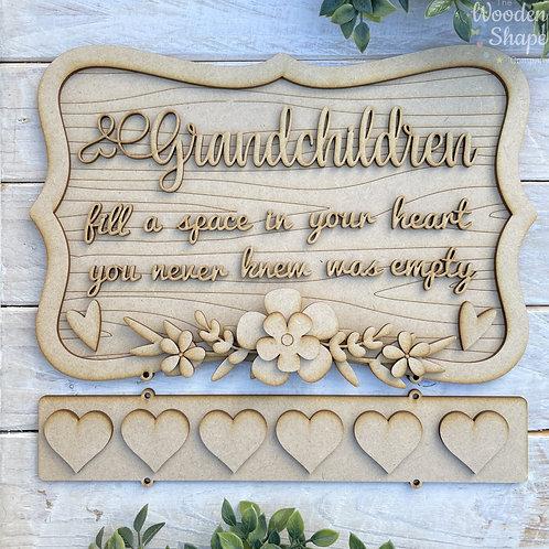 30cm Ornate Layered MDF Grandchildren Fill Your HEART ORWG