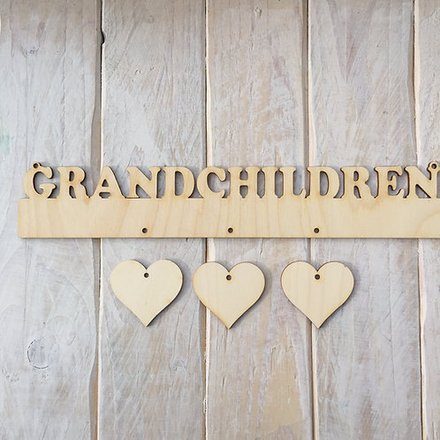 Plywood GRANDCHILDREN Word with Hanging Hearts