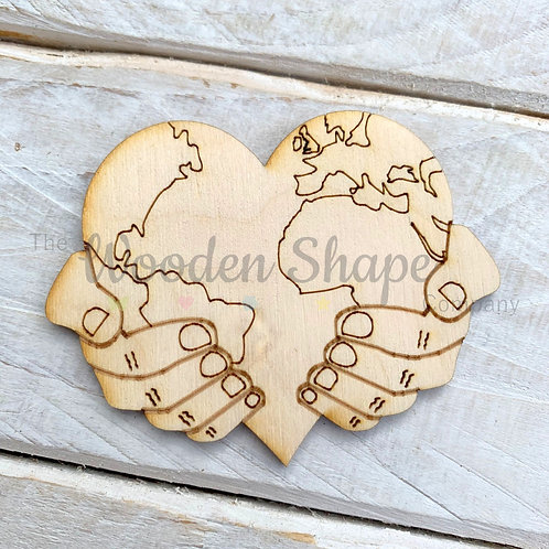 Plywood World Heart in Hands Shape 10 Pack