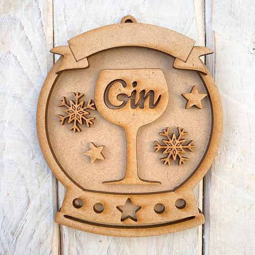 Layered Snow Globe Bauble Gin