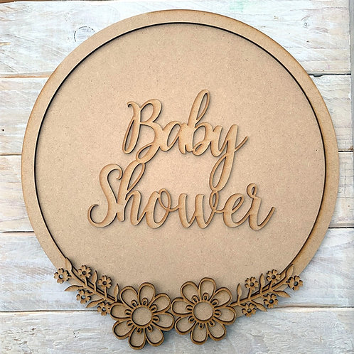 Layered Hoop Kit Backboard with Baby Shower