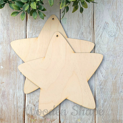 2 Pack Birch Plywood Plaque Star