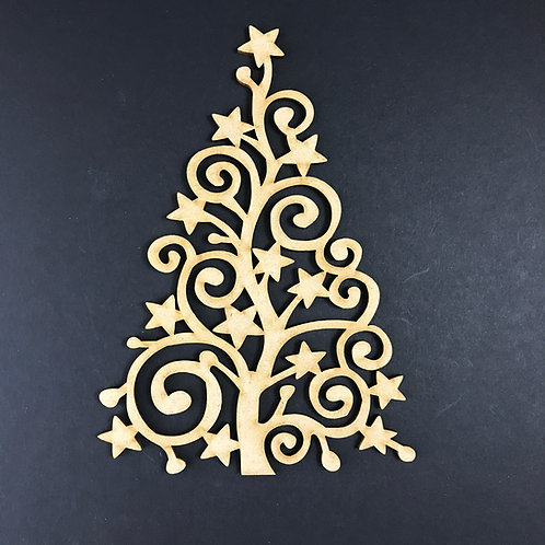 MDF Wooden Tree Code Christmas Swirl Star
