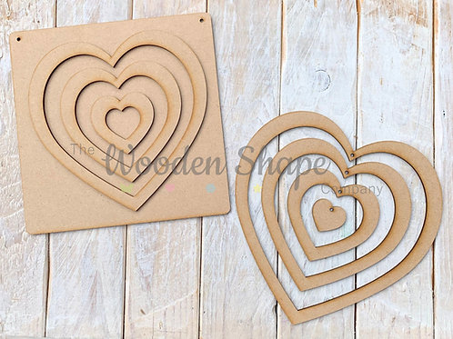 MDF Laser Cut Craft Kit Rainbow Hearts Hanging Interlinked