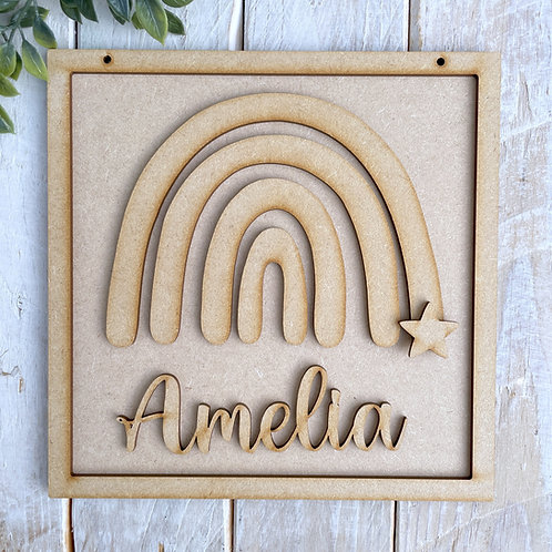 20cm Square Frame Sign with Rainbow & Name