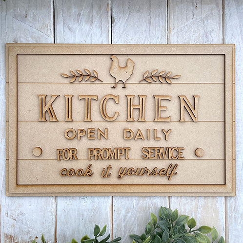 30cm MDF Sign Kit Kitchen Open Daily RLI