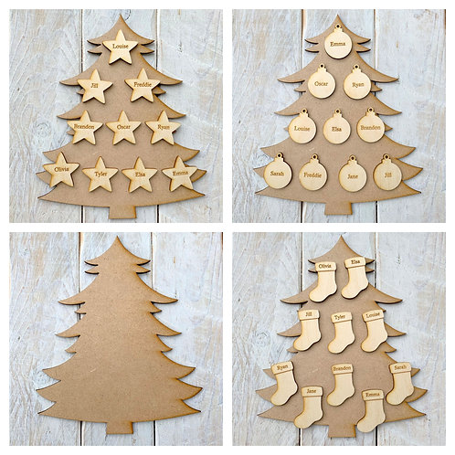 MDF Christmas Tree F with Plywood Engraved Name Tags