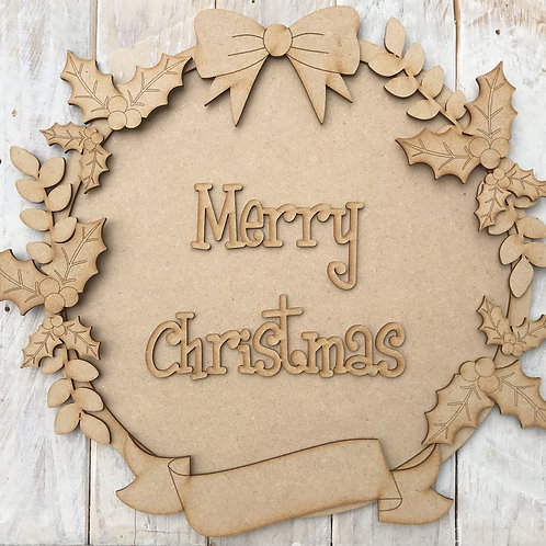 MDF Christmas Ring Layered Kit Holly Merry Christmas