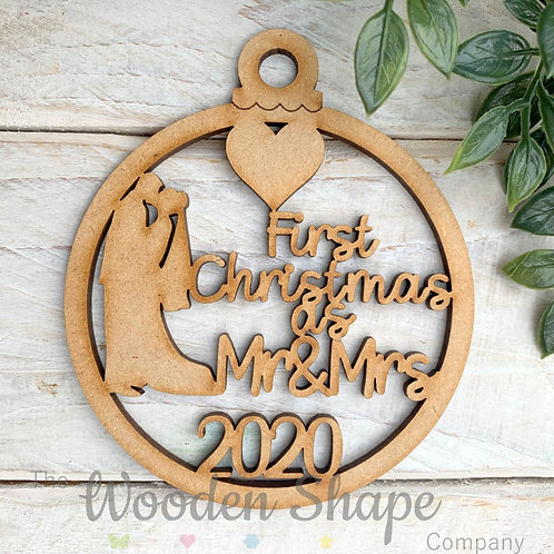 MDF Bauble First Christmas as Mr & Mrs 2020