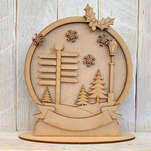 Freestanding Snow Globe Signpost