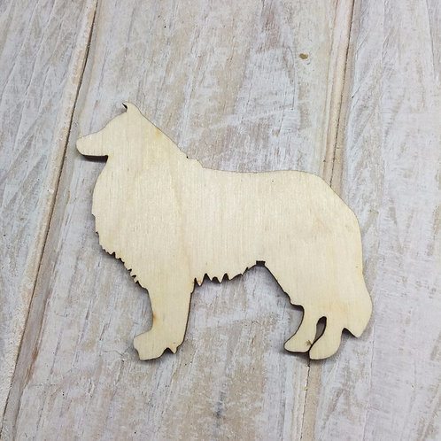 Plywood Rough Collie Dog Shape 10 PACK