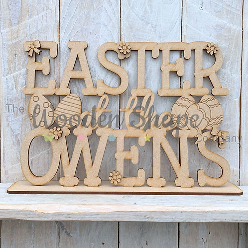 MDF Easter at the Family Surname Sign Stand