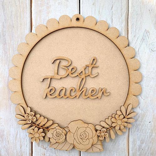 Layered Round Scallop Edge Frame Kit 20cm Best Teacher