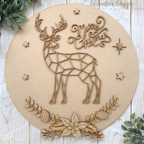 30cm MDF Circle Merry Christmas Geometric Reindeer Sign