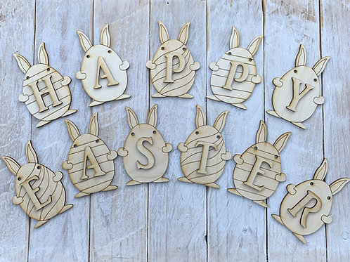 Plywood Happy Easter Bunting