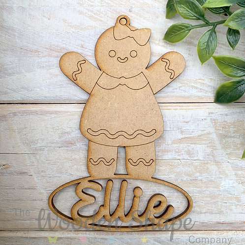 MDF Personalised Bauble Gingerbread Girl