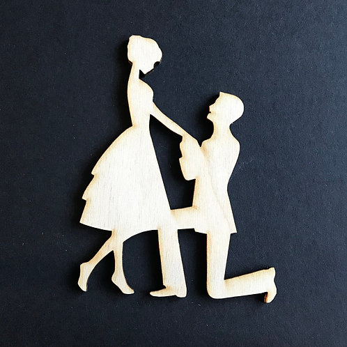 Plywood BRIDE & GROOM ENGAGED KNEE Shape 10 PACK
