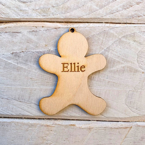 6.5cm Engraved Plywood Gingerbread with Hole
