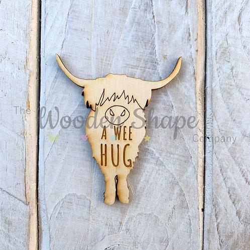 Plywood Engraved Highland Cow Hug A Wee Hug 5 Pack