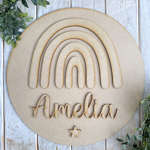 30cm MDF Circle Sign with Rainbow & Name CP