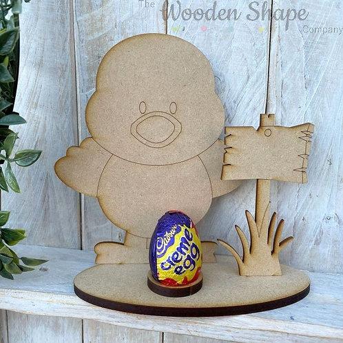 MDF Easter Egg Holder Stand Creme/Kinder Egg Chick
