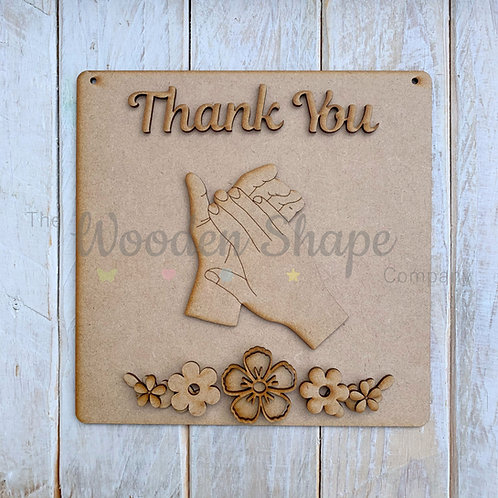 MDF SP Laser Cut Craft Kit DIY Thank You Clapping Hands Sign