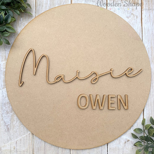 30cm MDF Circle Hoop with Name Script 2