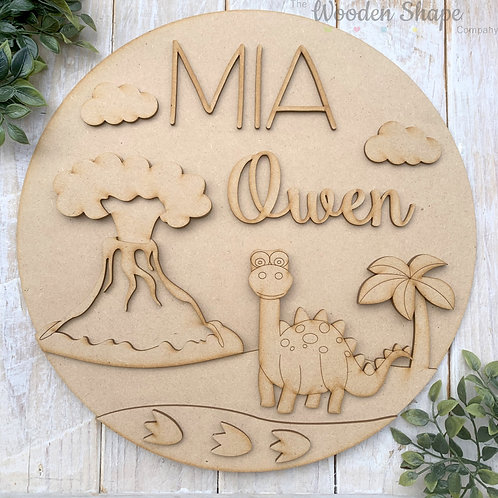 30cm MDF Circle Hoop with Name Dino Theme