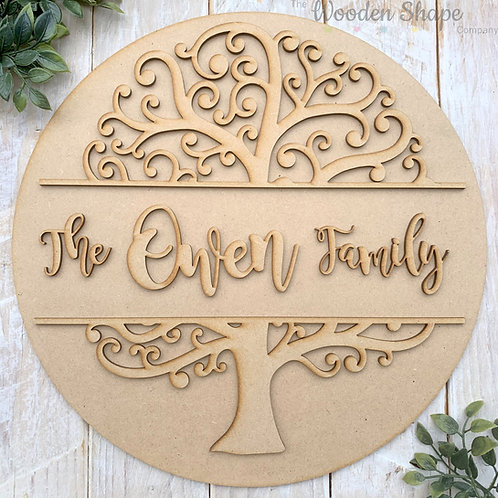 30cm MDF Circle with 2 Piece Family Tree Family Sign CP
