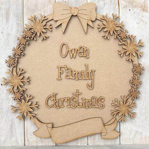 MDF Christmas Ring Layered Kit Snowflakes
